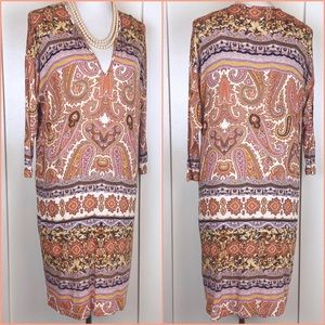 Velvet by Graham & Spencer Brown Paisley Dress M